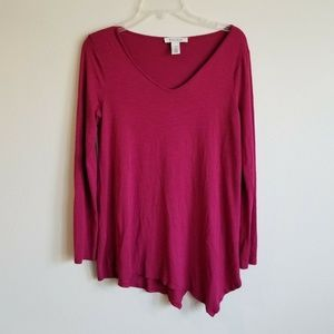 Blouse Long Sleeve Top asymmetrical hem maroon red